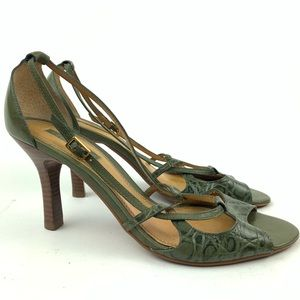 4d72bffa7 Unisa Heel 9.5 Leif Green Leather Tortoise Print